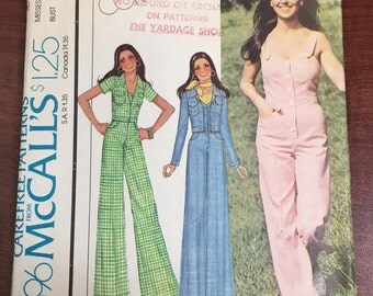 1970s McCall's Sewing Pattern 4396 Misses Jumpsuit Long or Short Size 10 cut- 1970s jumpsuit, short jumpsuit, summer pattern, 1970s