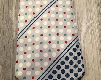 Vintage Mens Wide Pierre Cardin Polka Dot Necktie Red, White and Blue Dots - vintage necktie, Pierre Cardin necktie, polka dot necktie