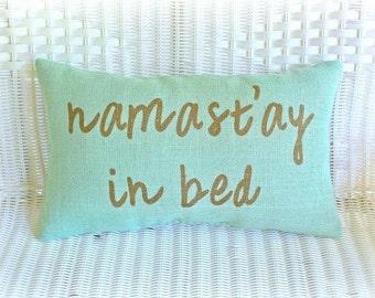 Burlap Lumbar Pillow / Mint Green / Namast'ay In Bed