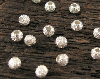 20 Sterling Silver Stardust - Small Glitter Beads - 2.5mm Round Beads - MB21b