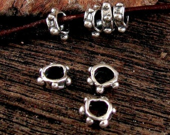 4 Large Hole Artisan Spacer Beads  - Dotted Handcrafted Large Hole Spacers 3.8mm ID AP128