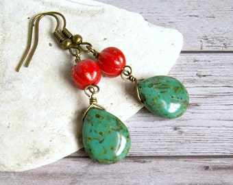 francesca aqua red drop czech glass earrings, dangle, brass, colorful