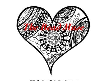 Henna- hand drawn heart for Coloring- printable PDF download 15