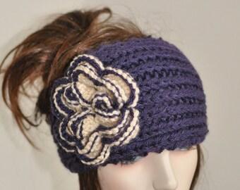 University of Washington Hat Crochet Flower Headband Knit UW Ear Warmer CHOOSE COLOR  Crochet Flower Washington Huskies Headband Ear Warmer