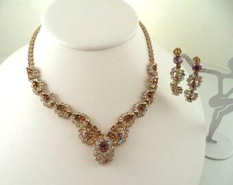 Lavender AB Rhinestone Necklace Dangling Earrings Set