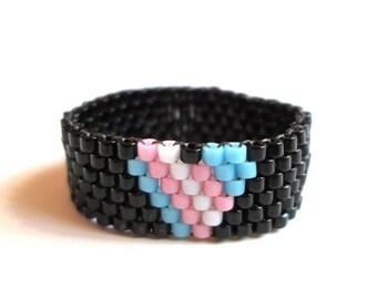 Transgender Heart Seed Bead Ring  Summer Peyote Ring  Gay Pride Bead Ring  Skinny Band Ring TransPride jewelry  LGBT  LGBTQ