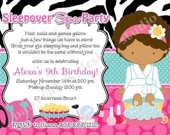 Spa Sleepover Invitation Invite Sleepover spa party invitation spa sleepover birthday slumber party DIY Print Your Own - Choose Your Girl