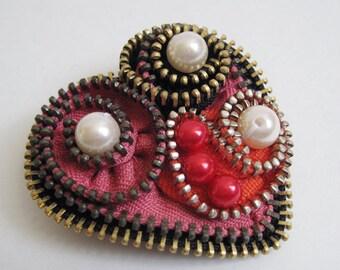 Love Zipper Brooch Pin