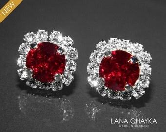 Red Crystal Halo Earrings Swarovski 8mm Siam Red Rhinestone Hypoallergenic Earring Studs Dark Red Silver Bridesmaids Earrings Bridal Earring