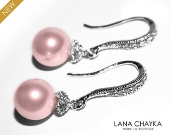 Pink Pearl Earrings Rosaline Pearl Small Earrings Blush Pink Drop Pearl Earrings Swarovski 8mm Pearl Sterling Silver CZ Wedding Earrings