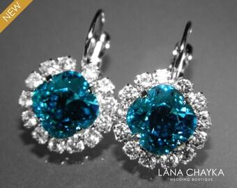 Indicolite Teal Crystal Halo Earrings Swarovski Rhinestone Earrings Indicolite Sparkly Leverback Wedding Earrings Bridesmaids Bridal Jewelry