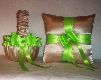 Champagne Satin With Apple Green Trim Flower Girl Basket And Ring Bearer Pillow