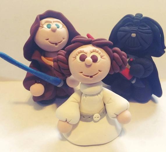 Star Wars Cake Topper Darth Vader Princess Leia Yoda R2D2 Anakin Skywalker Personalized Handmade Collector Birthday Keepsake or Ornament