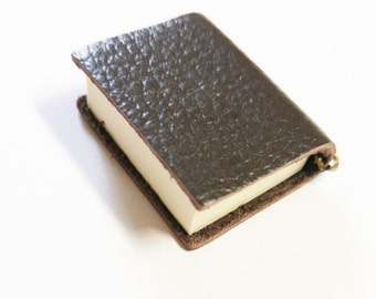"""Miniature Book Charm REAL Pages Miniature Journal Pendant Dark Brown Leather 2.25"""""""