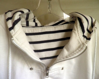 Nautical pullover, hooded Jacket / top, Navy n' white, Cotton jersey material, Women's L