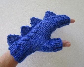 Dragon, dinosaur, monster rich cobalt  blue  fingerless mittens gloves, wool and alpaca,medium female adult's size