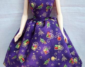 "Handmade 11.5"" Fashion Doll Clothes. Purple Christmas parcel print dress."
