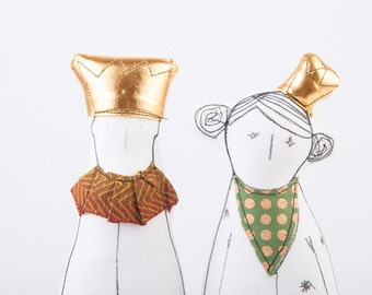 King & Queen dolls - Royal Couple soft sculpture dolls in gold crown ,olive green dotted scarf and clothing-  timohandmade eco fabric dolls