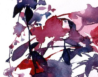Original watercolor | Red and indigo flowers