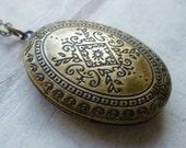 Moroccan Folk Locket .. Boho Pendant Festival Necklace