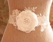 Fabric flower bridal belt, fabric flower bridal sash, hand made flowers, french lace, lace and rose wedding sash - 'Flori'