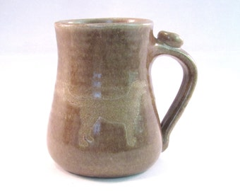Dog Coffee Cup - Labrador Retriever Mug - Handmade Pottery - Silhouette Art - Pottersong - Oatmeal Tan - Light Brown - Pet Lovers Mug