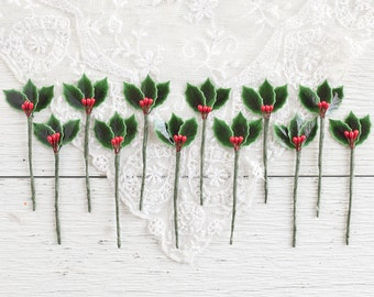 Holly Picks - Vintage Style Lacquered Holly Leaves and Berries, Set of 12 Floral Stems