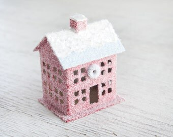 Vintage Style Putz House - Red House Christmas Decoration