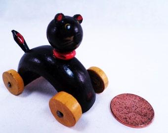 Black Cat Rolling Wooden Toy Japan Vintage 50s