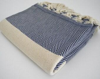 SALE 50% OFF Herringbone Bathstyle Turkish BATH Towel Handwoven Peshtemal - Navy Blue - B - Beach, Spa, Swim, Pool Towels - Soft