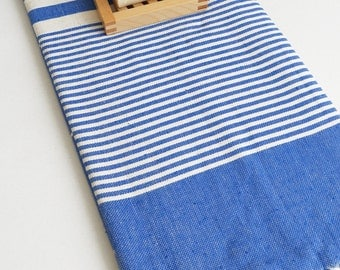 SALE 50 OFF / Turkish Beach Bath Towel / Classic Peshtemal / Blue / Wedding Gift, Spa, Swim, Pool Towels and Pareo