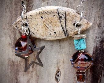 Handmade ceramic pendant necklace with suede lace- CN616-3