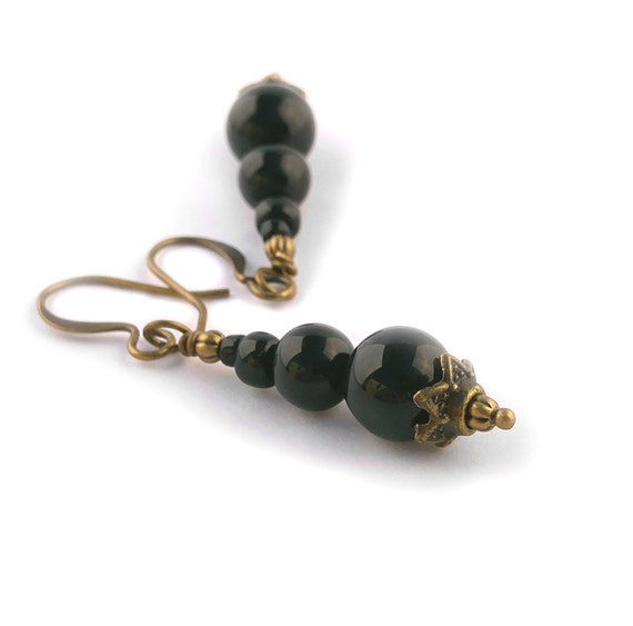 Black Agate 8mm and Smaller Gemstones on Antiqued Gold Plated Brass Dangle Earrings