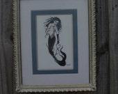 Vintage Frame, White picture frame, Shabby Chic, Mermaid picture,framed mermaid