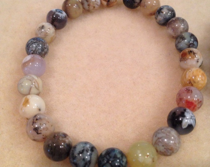 Dendritic Opal Round 8mm Bead Stretch Bracelet With Sterling Silver Accent