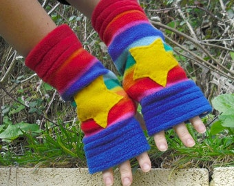 ARMWARMERS, Fleece, Handwarmers, Gloves, Rainbows & Stars