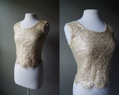 Vintage 60's Sequin Mermaid Top Sleeveless Top Sequin Top Fringe Top Small Top Mad Men Gatsby Flapper Mermaid Costume Off White Sequin