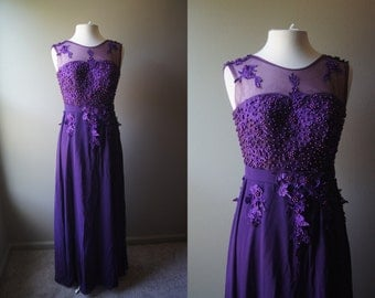 Vintage Purple Ball Gown Formal Gown Chiffon Gown Princess Gown Small Gown Evening Gown Prom Dress Floor Length Formal Dress Princess Dress