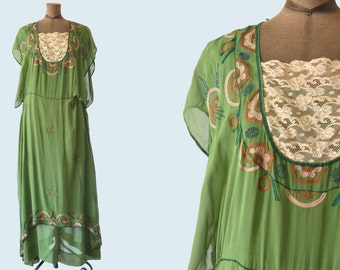 1920s Olive Green Embroidered Silk Dress size L