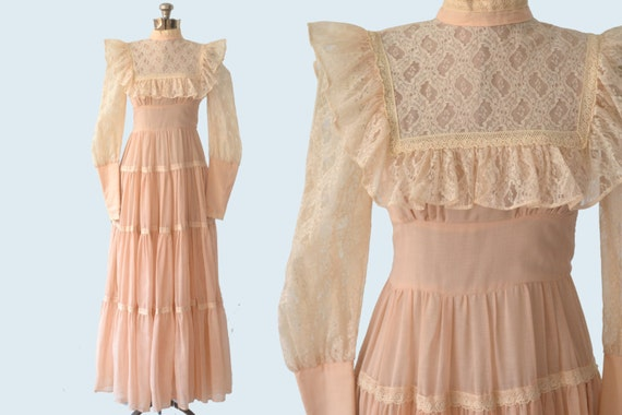 1970s Gunne Sax Peasant Dress size S