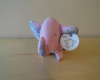 Baby Safe Tiny Stuffed Elephant- Pink