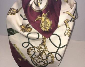 Genuine Vintage Hermes Paris Silk Twill Les Cles (the Keys) Scarf Burgundy and Gold Luxury Collectible Gift