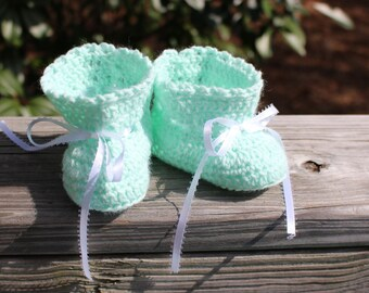 SALE! New Handmade Crochet Soft Mint Green Baby Girl Boy 1 Pair of Booties (0 - 12 mo) - Ready to Ship