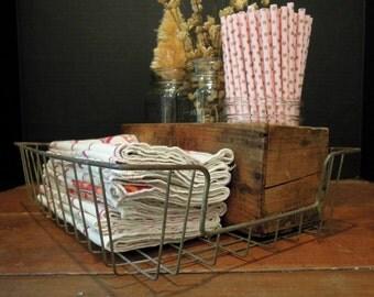 Vintage Industrial Wire In and Out Basket / Office Tray / Photo Storage / Ephemera Storage / Storage Basket