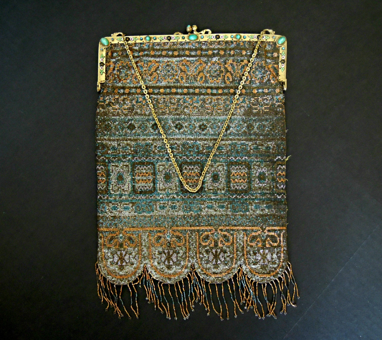 antique cut steel beaded purse snap closure
