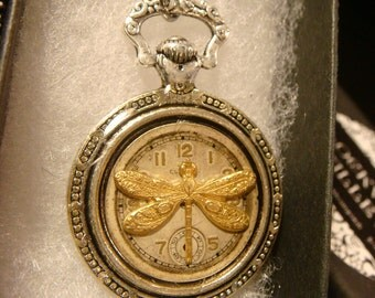 Dragonfly Clock Pocket Watch Style Pendant Necklace (2185)