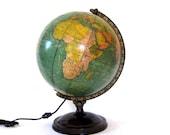 Vintage World Globe c1950 Pst-WW2 Illuminated Glass Unrivaled Crams