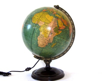 Vintage World Globe c1950 Pst-WW2 Illuminated Glass Unrivaled Crams