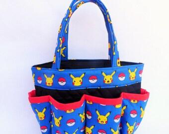 Pokemon Bingo Bag // Picachu // Pokemon Go // Craft Organizer // Makeup Organizer // Caddy // Teacher Tote // Nurse Tote