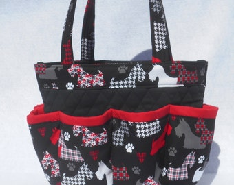 Scottie Dogs Bingo Bag // 8 Pockets // Great for Craft and Makeup Organizer